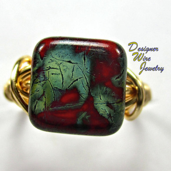 Czech Art Glass Picasso Red & Green Artisan Gold Tone Wire Wrap Ring All Sizes