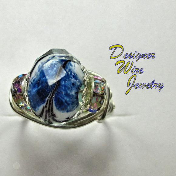 Blue Mist Faceted Czech Art Glass Artisan Silver Plate Wire Wrap Ring All Sizes