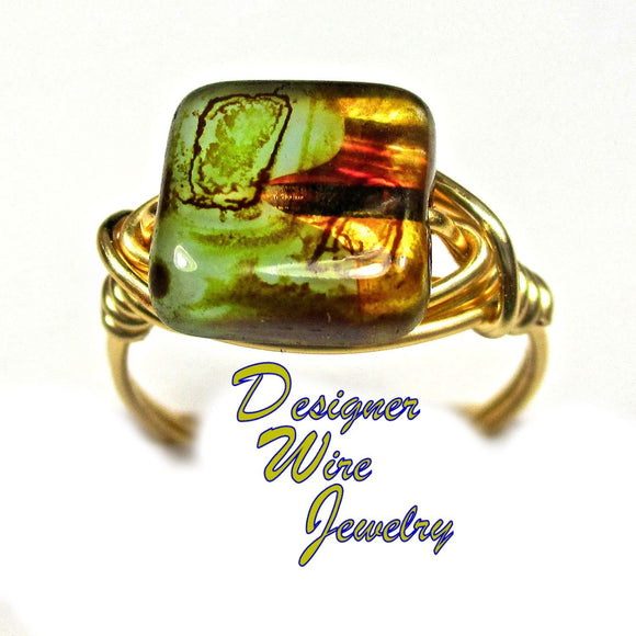 Vintage Czech Amber Aqua Picasso Artisan Gold Tone Wire Wrap Ring All Sizes