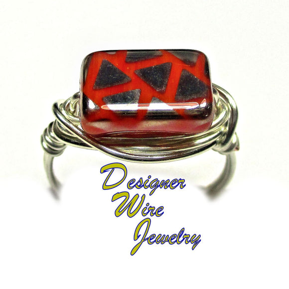 Vintage Czech Glass Burnt Orange Artisan Silver Plate Wire Wrap Ring All Sizes