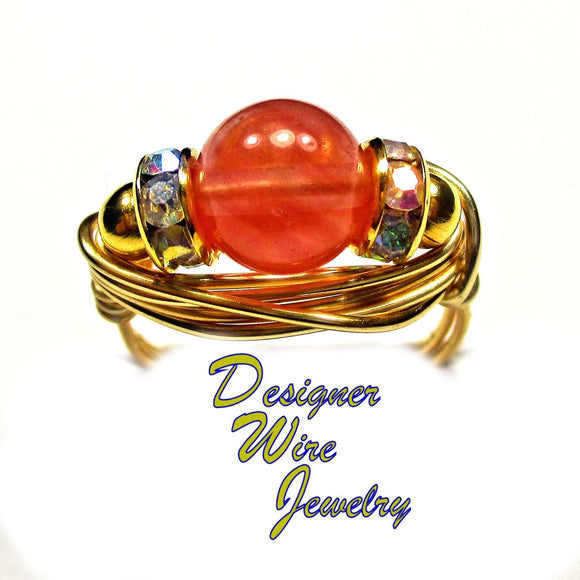 Watermelon Quartz Gemstone Solitaire Artisan Gold Tone Wire Wrap Ring All Sizes