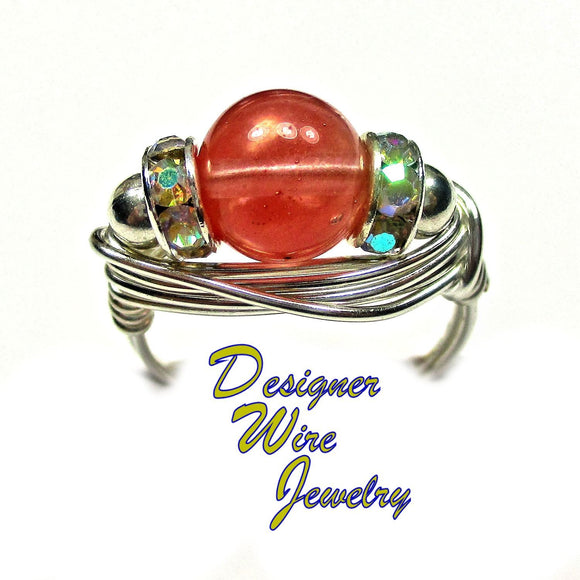 Watermelon Quartz Gemstone Solitaire Artisan Silver Plate Wire Wrap Ring All Sizes