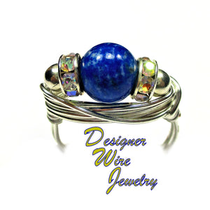 Celestial Blue Lapis Lazuli Solitaire Artisan Silver Plate Wire Wrap Ring All Sizes