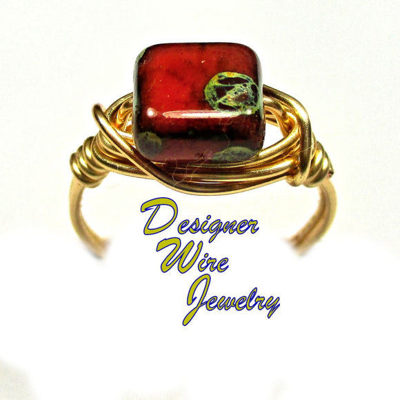 Vintage Barn Red Czech Art Glass Artisan Gold Tone Wire Wrap Ring All Sizes