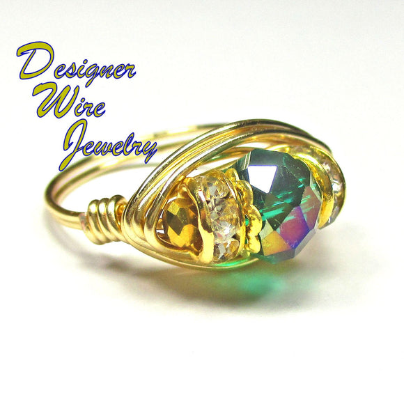 Stunning Metallic Green Faceted Crystal Artisan Gold Tone Wire Wrap Ring All Sizes