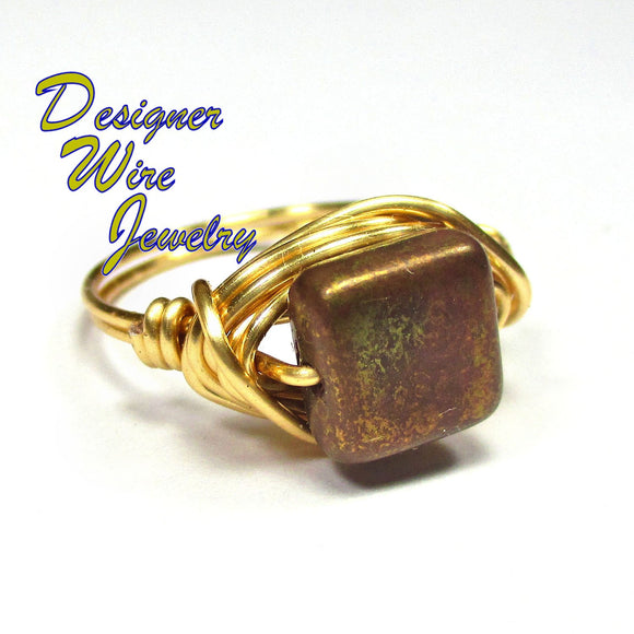 Warm Golden Rose Czech Art Glass Artisan Gold Tone Wire Wrap Ring All Sizes