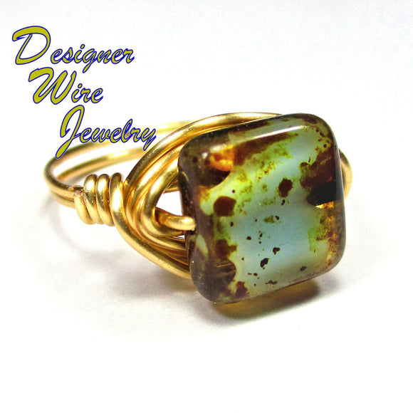 Turquoise Picasso Czech Art Glass Artisan Gold Tone Wire Wrap Ring All Sizes