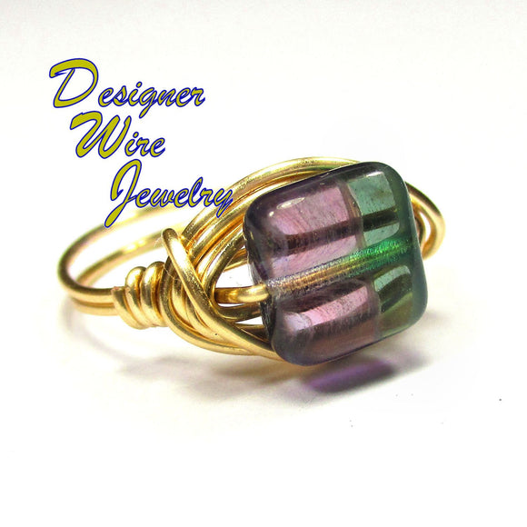 Watercolor Waves Czech Art Glass Artisan Gold Tone Wire Wrap Ring All Sizes