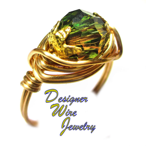 Swarovski Faceted Crystal Smoky Green Artisan Gold Tone Wire Wrap Ring All Sizes