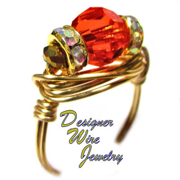 Swarovski Hibiscus Faceted Crystal Artisan Gold Tone Wire Wrap Ring All Sizes