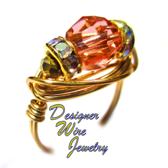 Swarovski Faceted Crystal Rose Pink Artisan Gold Tone Wire Wrap Ring All Sizes