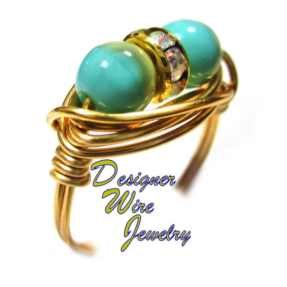 Turquoise Ocean Surf & Sand Czech Artisan Gold Tone Wire Wrap Ring All Sizes