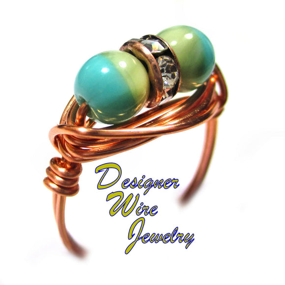 Turquoise Desert Sky Czech Art Glass Duet Artisan Copper Wire Wrap Ring All Sizes