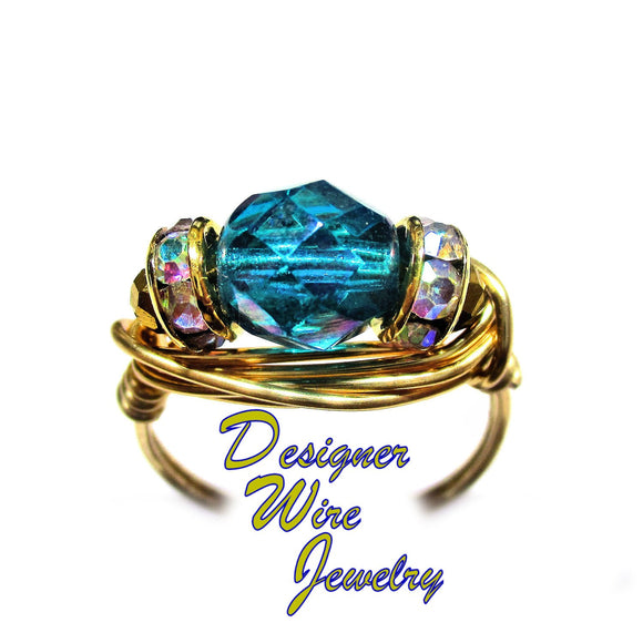 Teal Iris Luster Czech Art Glass Solitaire Artisan Gold Tone Wire Wrap Ring All Sizes
