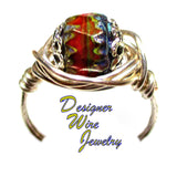 Chill Autumn Forest Czech Art Glass Artisan Silver Plate Wire Wrap Ring All Sizes