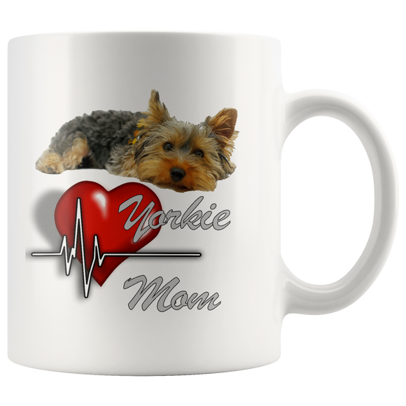 Yorkie Mom Yorkshire Terrier with Pulsing Heart, White 11oz Mug