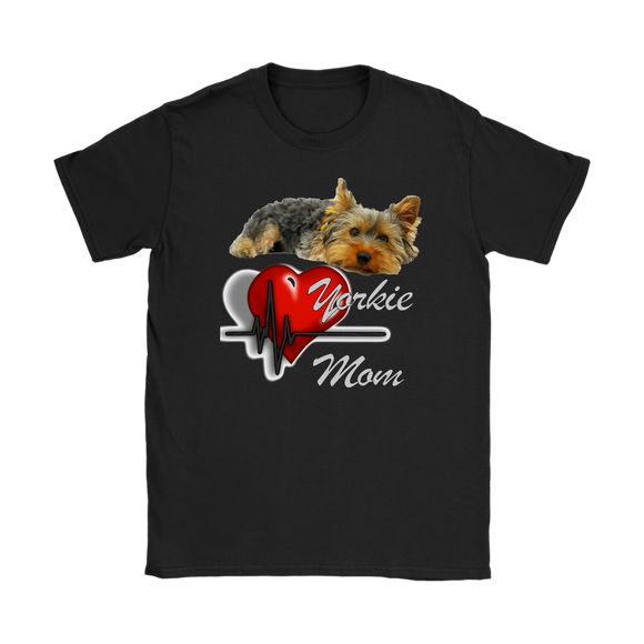 Yorkie Mom Yorkshire Terrier with Pulsing Heart Women's T Shirt