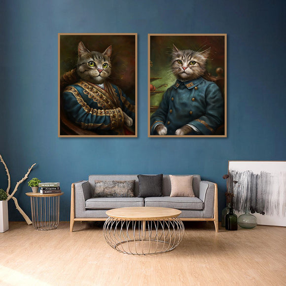 Retro Style Pet Cat Head Poster Animal Wall Art Canvas Oil-Painting Print Picture Living Room Nordic Home Decoration Customized