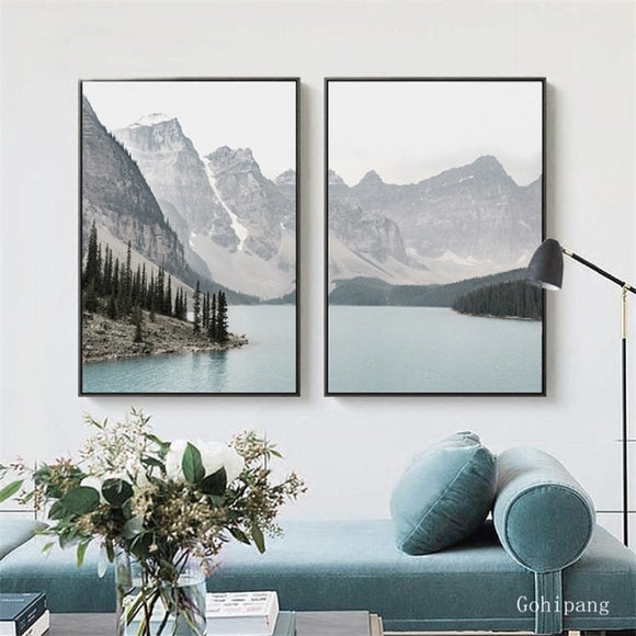 Nordic Landscape Mountain Lake Canvas Paintings Home Decoration Living Room Wall Art Pictures Nature Scenery Posters and Prints