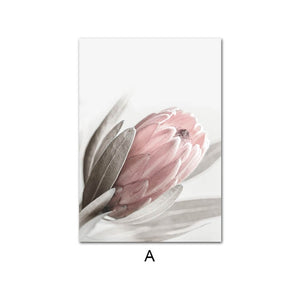 Pink Rose Flower Poster Nordic Style Floral Botanical Print Canvas Art Picture Simplicity Wall Painting Scandinavian Home Decor