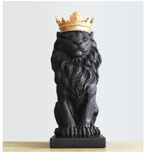 Handsome Crown Lion Resin Statues Ornament
