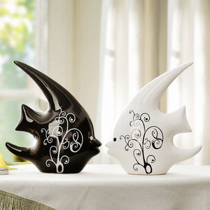 Interesting Porcelain Black and White Double Cute Fish