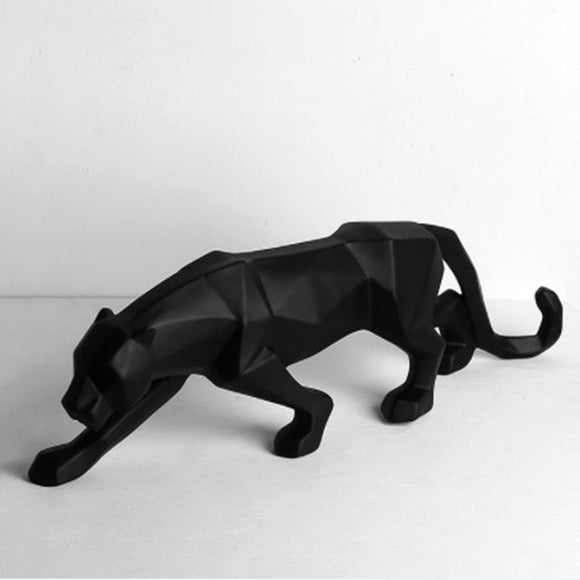 Modern Black Panther Resin Sculpture
