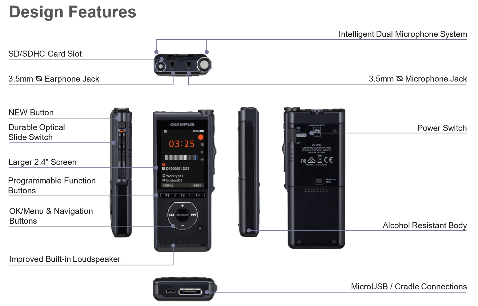 DS-9000 Recorder & Docking Cradle/Power Supply
