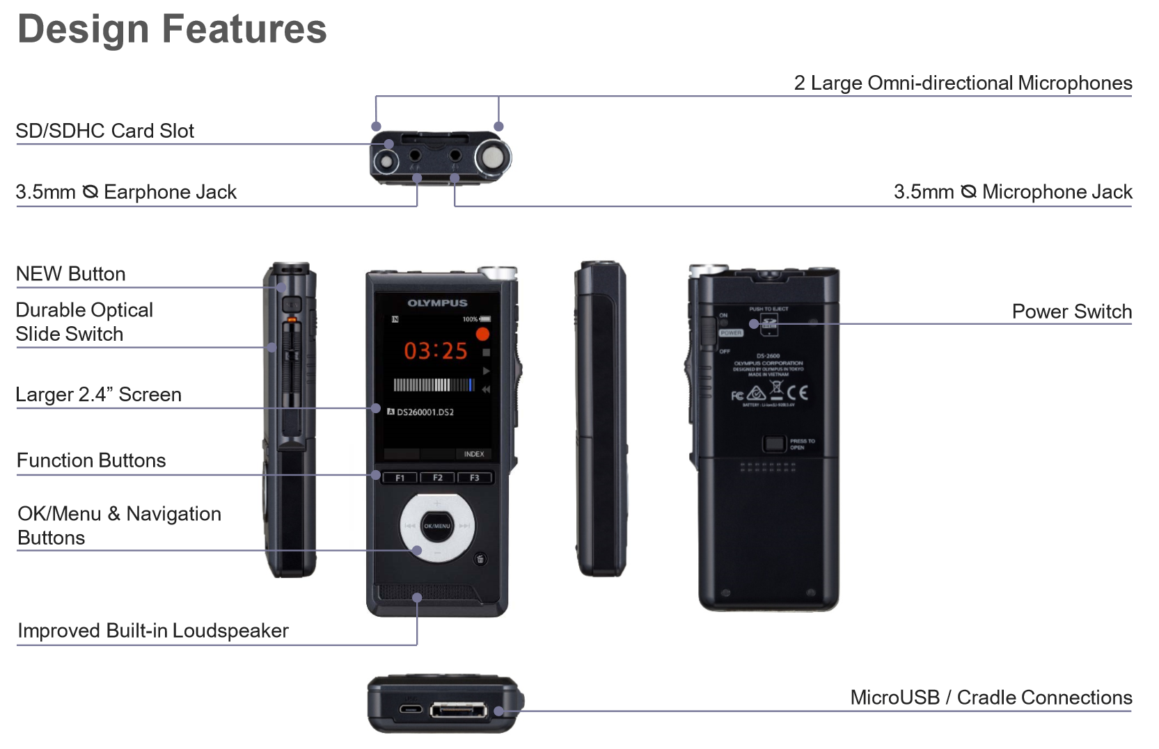 Olympus DS-2600 Professional Voice Recorder - Dictation Solutions Australia