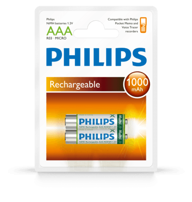 Philips LFH9154 Rechargeable Batteries AAA (DPM 9600) - Dictation Solutions Australia