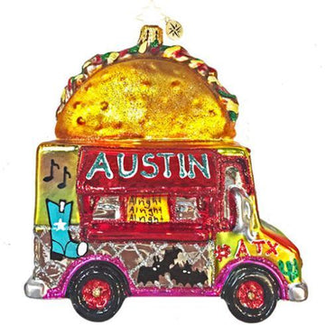 "Breed & Co Exclusive Radko Ornament: ""Let's Taco Bout Austin"" Taco Truck"