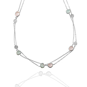 AVOJ AURORA SILVER ROSE QUARTZ & AQUA CHALCEDONY WITH DISK NECKLACE