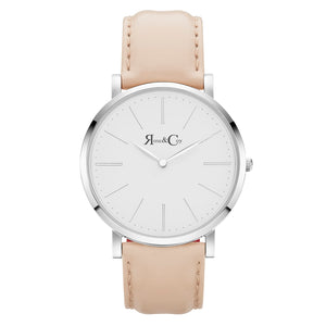 rose & Coy Pinnacle Ultra Slim 40mm Rose Gold | peach Leather Watch | white FACE