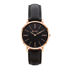 rose & Coy Mini Pinnacle Ultra Slim 34mm Rose Gold | BLACK Leather Watch | BLACK FACE
