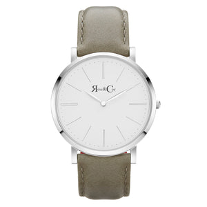 rose & Coy Pinnacle Ultra Slim 40mm silver | sage Leather Watch | WHITE FACE