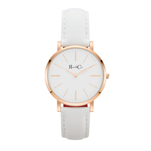 rose & Coy Mini Pinnacle Ultra Slim 34mm Rose Gold | White Leather Watch | WHITE FACE