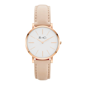 rose & Coy Mini Pinnacle Ultra Slim 34mm Rose Gold | PEACH Leather Watch | WHITE FACE