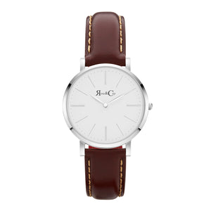 rose & Coy Pinnacle Ultra Slim 40mm silver | DARK brown watch |white FACE