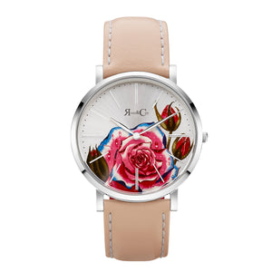 rose & Coy art series PINK rose Ultra Slim 34mm silver | PEACH Leather Watch | silver face