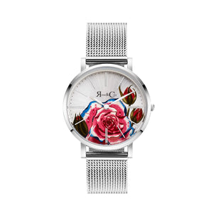 rose & Coy art series PINK rose Ultra Slim 34mm silver | silver mesh watch | silver face