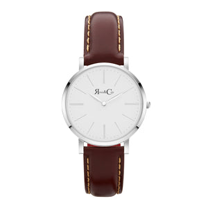 rose & Coy Mini Pinnacle Ultra Slim 34mm silver | brown Leather Watch | WHITE FACE