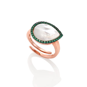 AVOJ PERA ROSE GOLD MOTHER OF PEARL WITH GREEN CZ RING