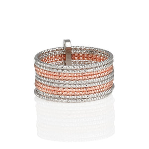 AVOJ CELESTE GOLD, ROSE GOLD & SILVER MULTI TONE STACKING RING