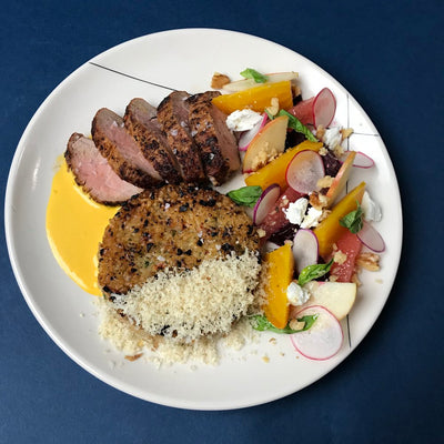 Valentine's Day Recipe: Pork Tenderloin with Crispy Rice & Beet Salad