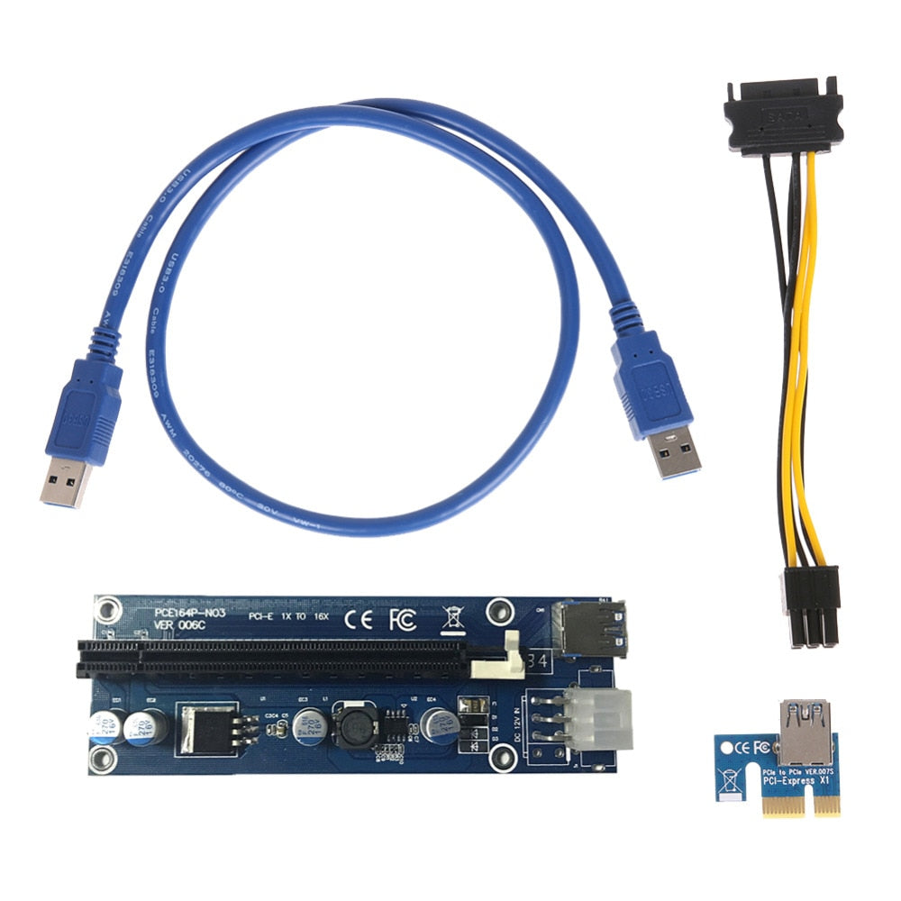 Computer Cables USB 3.0 PCI-E PCI Express Extension Cable 1X to 16X Extender Riser Mining Dedicated Graphics Card Adapter with SATA Power Cable Cable Length: 2 PCS