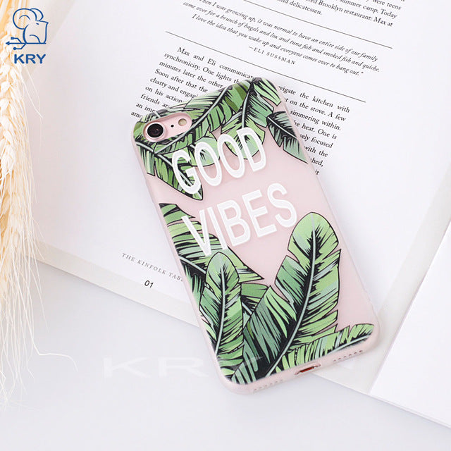 KRY Relief Flamingos Phone Cases For iPhone 7 Case 7 8 Plus For iPhone X Cases Leaf Soft Cover For iPhone 6 Case 6S 5 5S SE Capa