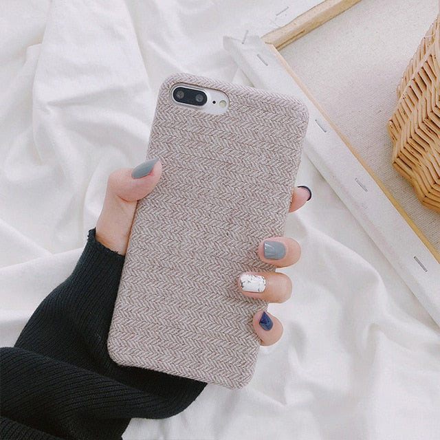 new style a1f6e b5d6d SoCouple Cloth Texture Soft TPU case For iphone 7 Case Ultra-thin Canvas  Silicone Phone Cases For iphone 6 6S 7 8 Plus X Xs Max