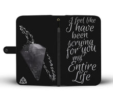 "Load image into Gallery viewer, ""Scryin for you"" Grey Pagan Pendulum themed RFID Phone  Wallet  - Wiccan Women"