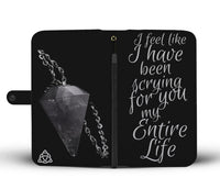 """Scryin for you"" Grey Pagan Pendulum themed RFID Phone  Wallet  - Wiccan Women - HemPress Design"