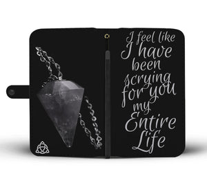 """Scryin for you"" Grey Pagan Pendulum themed RFID Phone  Wallet  - Wiccan Women"